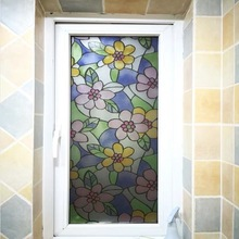 Flowers glass film window sticker Static Cling Stained Frosted privacy protection PVC Decorative for furniture 60*200cm