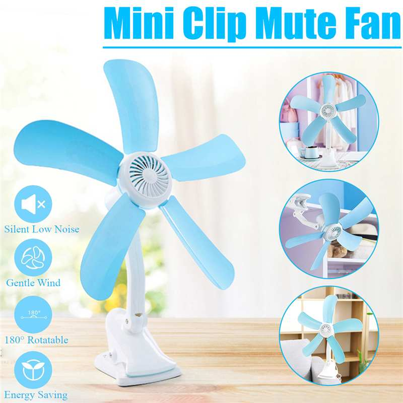 3-in-1 Multifunction Electric Fan 7/8W 4/5 Leaves Mute Wall Hanging Clip Fans Foldable Holder Air Fan US/EU Plug
