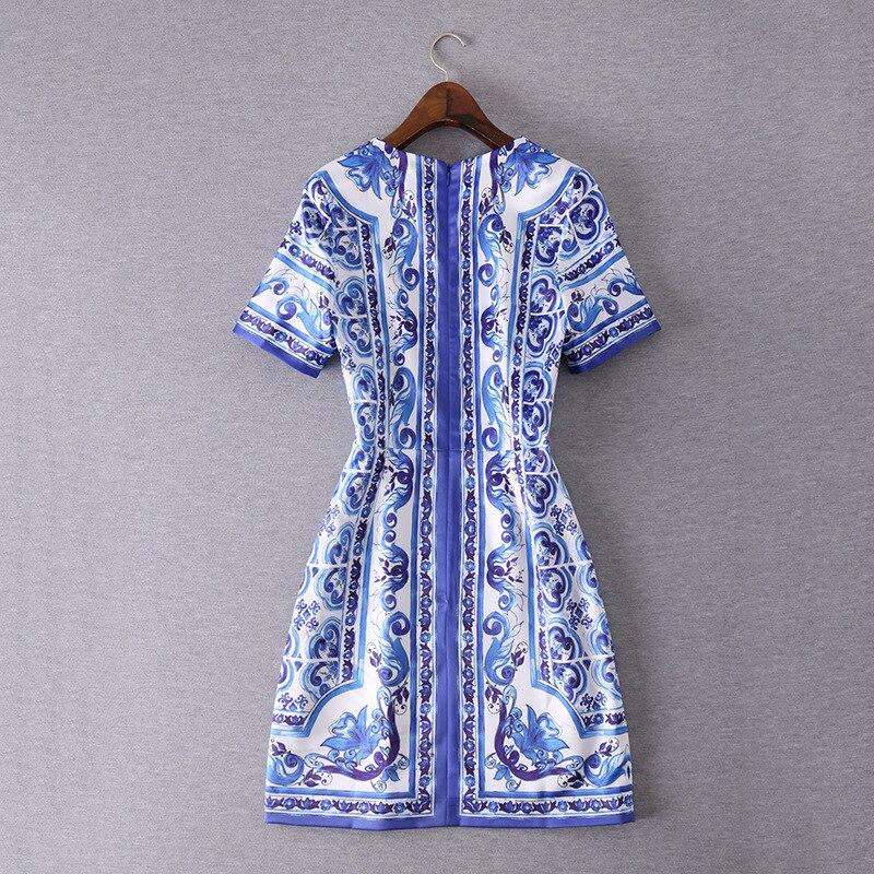 New 2016 autumn brand fashion women short sleeve vintage dress porcelain white blue sexy sheath casual dresses slim