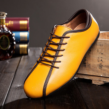 SUROM Spring Autumn Men's Genuine Leather Casual Flat Shoes Breathable Lace-Up Waterproof Shoes Male Footwear Loafers Men Flats