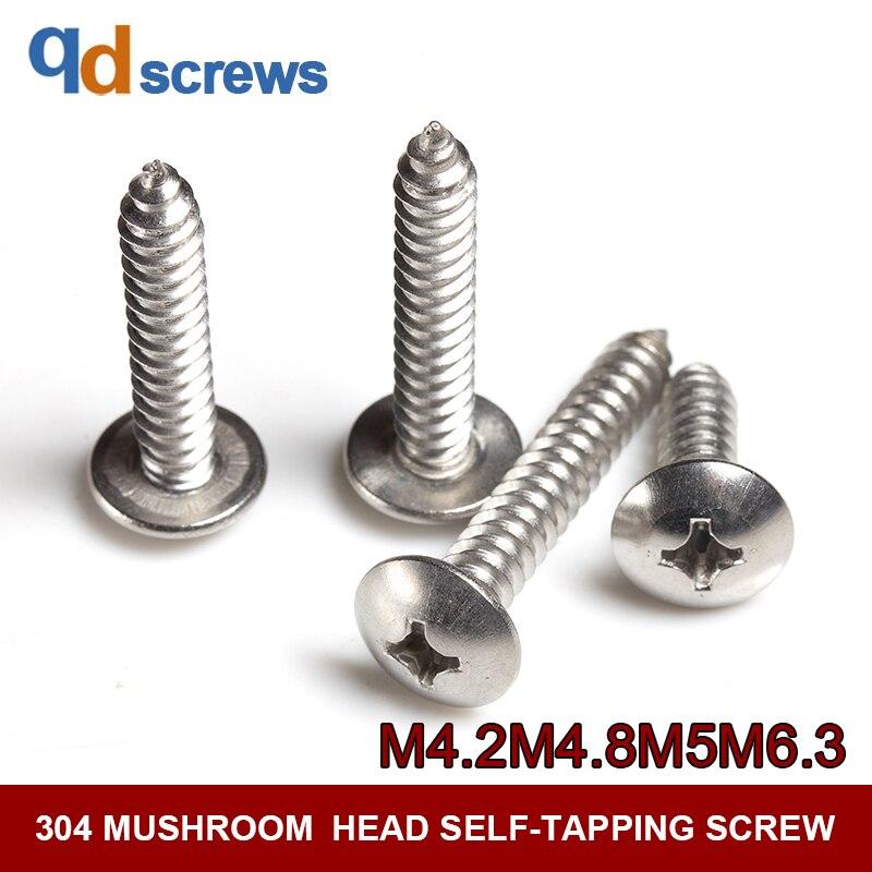 304 M4 2M4 8M5M6 3 cross large flat head self tapping Phillip Mushroomhead Truss stainless steel screw JIS B 1122 4 in Screws from Home Improvement