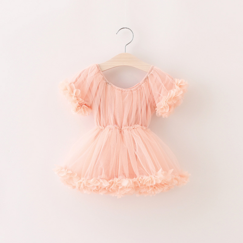 Girl Lace Tulle Dress Summer Fashion Princess Party Pink Dresses Cute Children Flower Dresses Cute Girl Clothing