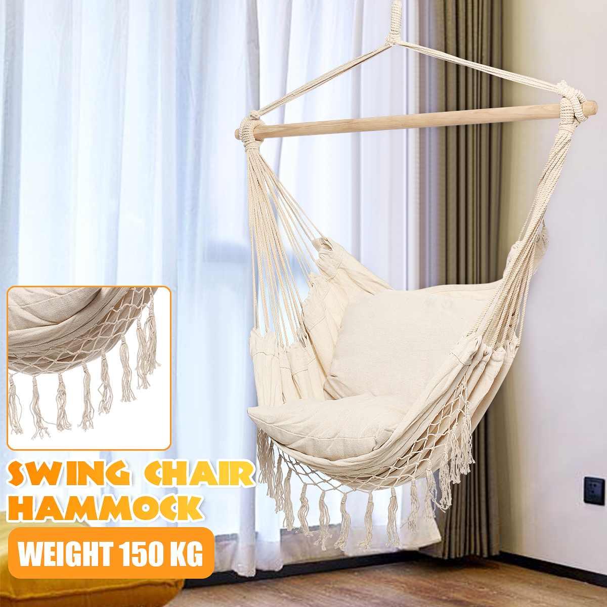 SGODDE jardin Patio porche coton corde balançoire chaise siège hamac balancant bois extérieur chaise d'intérieur offre spéciale