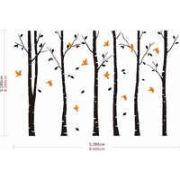 Sia新しい大型ビニールブラックコーヒーブラウン白4色白樺の木デカール鳥ビニールウォールステッカーホームデコレーショ