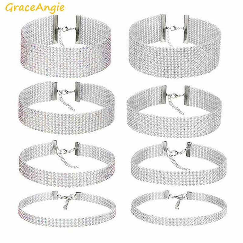 GraceAngie 1pc Shiny Rhinestone Transparent Colorful Optional Silver Color Alloy Chain Choker Necklace Women Party Accessories