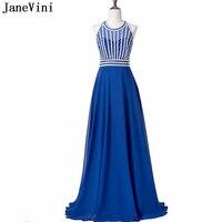 JaneVini 2018 Luxury Beaded A Line Long Bridesmaid Dresses Chiffon Halter Sleeveless Royal Blue Formal Prom Gowns Floor Length