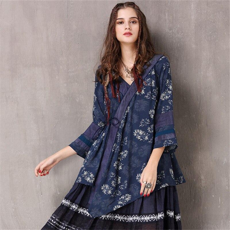 Vintage Floral Print   Blouse   2018 Spring Irregular bow-tie   Blouse     shirt   Cotton V neck Women   Shirt   Patchwork Sleeve Blusa Feminina