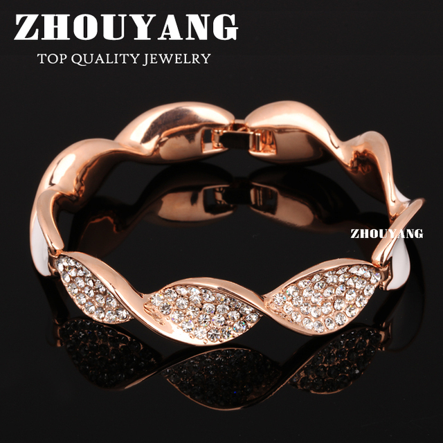 Top Quality ZYB044 Elegance Noble Style  Rose Gold Plated Bangle Jewelry   Austrian Crystals Wholesale