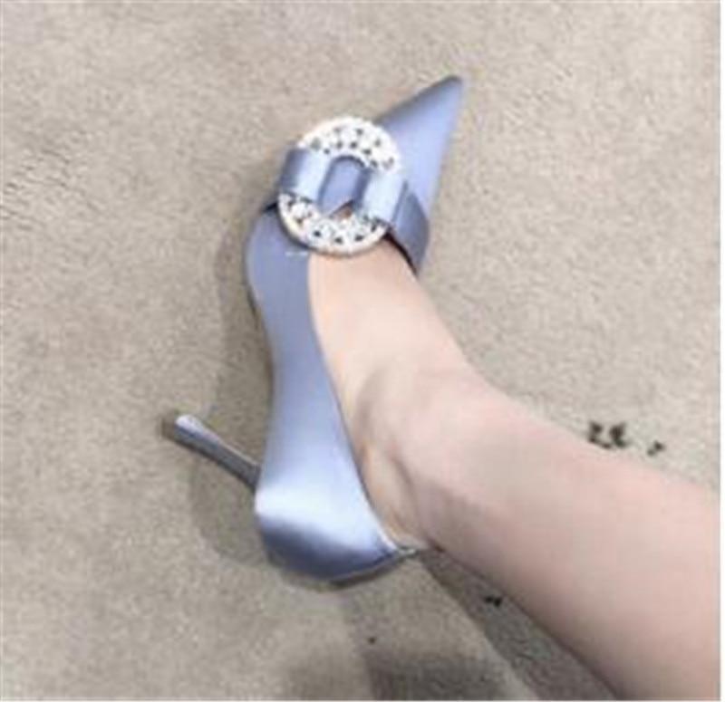 Dames De Partie 9cm Élégantes Sexy Cristal Soie 2018 Mujer Talons 9cm 7cm Chaussures Ronde 9cm Pointu 7cm Pompes Sandalias Femmes Bout Mariage Hauts aTWIWxHn