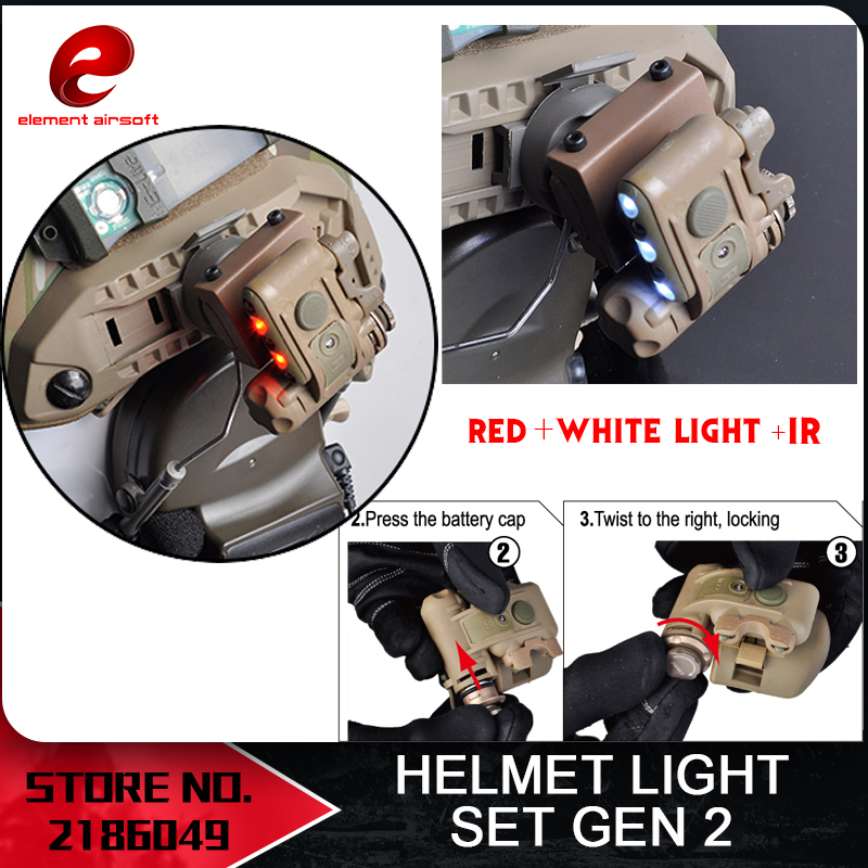 Element Airsoft GEN 2 CASCO LUCE Bianco Rosso IR Led Gen ii Torcia casco Gen TWO Illuminazione casco Tactical Softair EX029