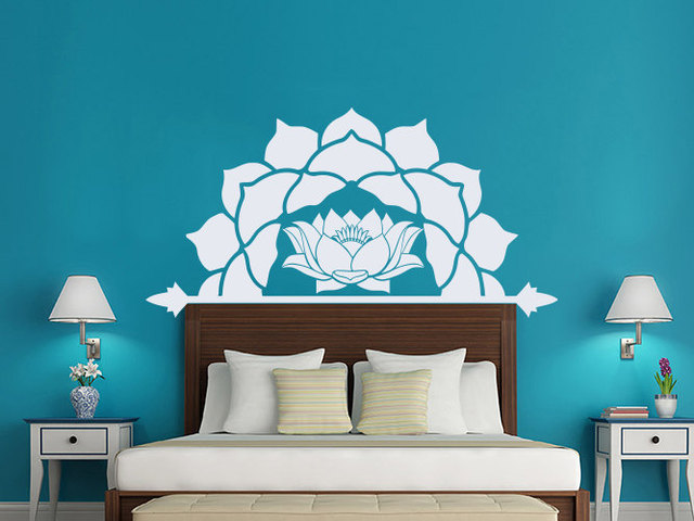 US $8.93 25% OFF|Half Lotus Flower Vinyl Wall Decals Master Bedroom  Headboard Bohemian Mandala Moroccan Pattern Interior Houseware Decor  SYY305-in ...