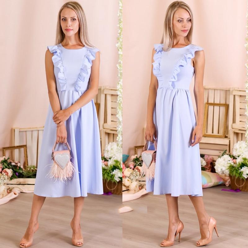 Oyddup Ruffles Pleated Women Summer Dress 2017 Sky Blue -1101