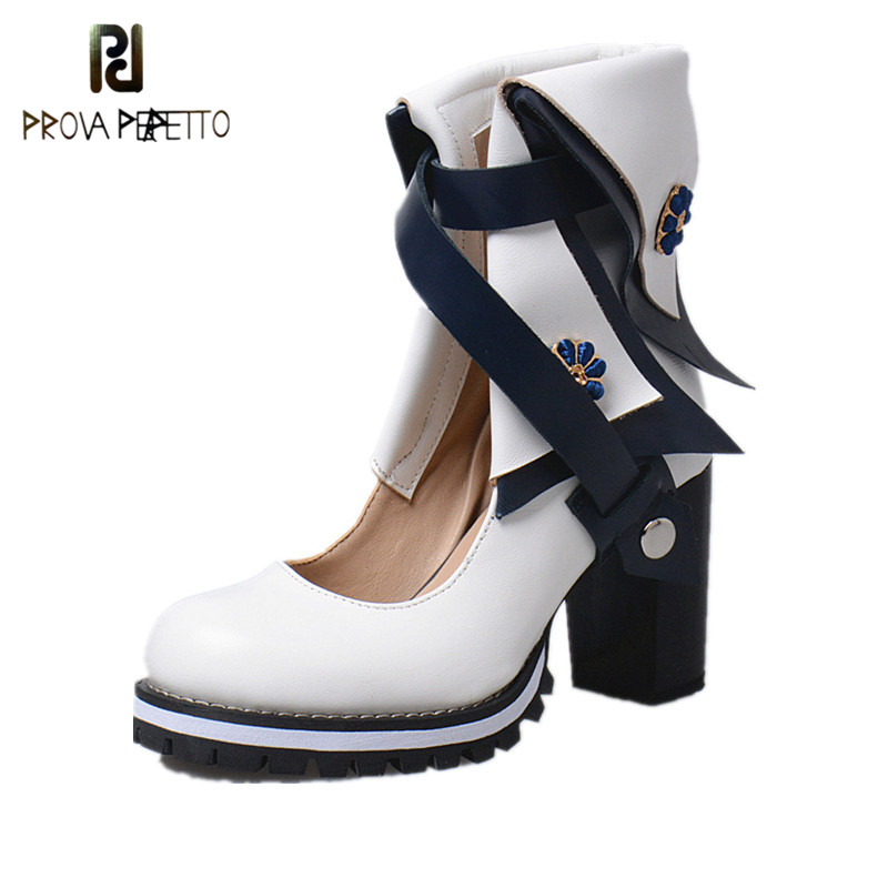 Prova Perfetto Mixed Color Narrow Band Strap Cover Toe Woman Boots Fashion Appliques Genuine Leather Chunky