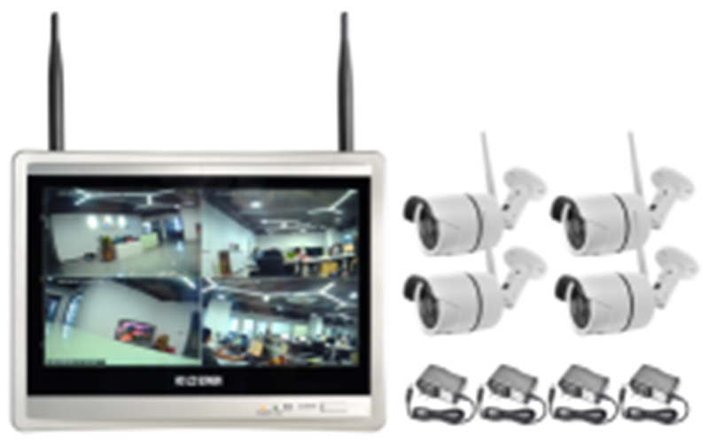 Wireless Security Camera System 4CH CCTV NVR Kit 720P 4pcs outdoor bullet IP camera HDMI 12.5ch Screen NVR home security
