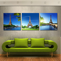 3 Panel Canvas Print Modern Decor Wall Pictures Paris Landscape Eiffel Tower Under Blue Sky Decoration