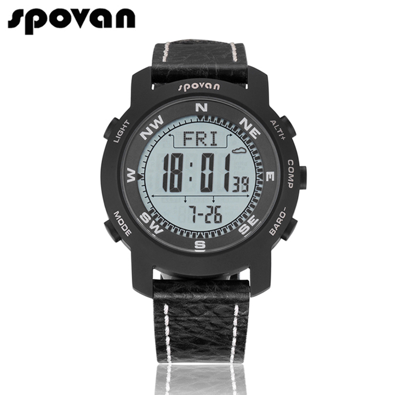 SPOVAN Brand Men s Sports font b Watches b font Sapphire Crystal Mirror Genuine Leather Band