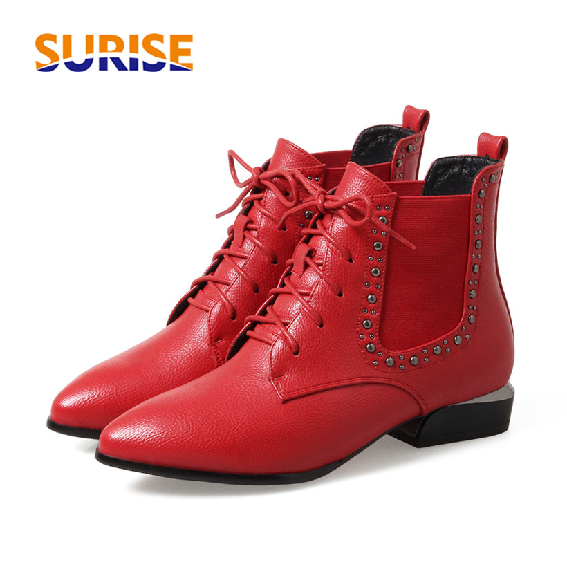 British Women Short Ankle Boots Plush PU Leather Low Square Heel Pointed Toe Lace Up Rivet Stud Casual Red Ladies Chelsea Boots