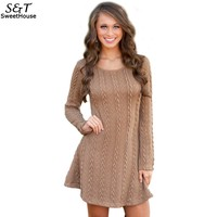 2016 Stylish Dress Sexy Women O Neck Warm Solid Knitting Mini Dresses Casual Long Sleeve Bandage