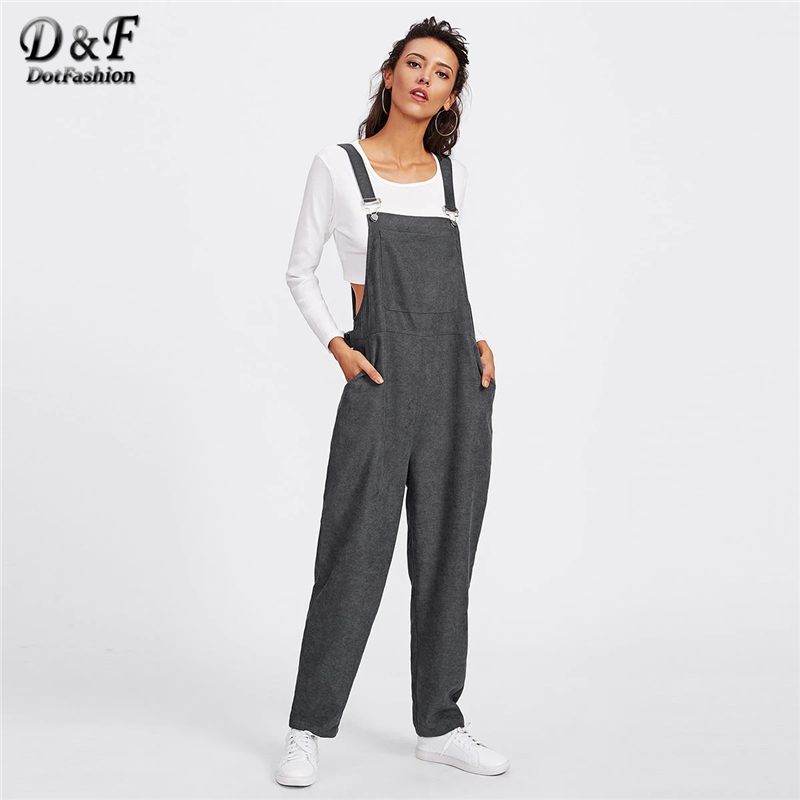 853a2dce4ece Dotfashion Grey Bib Pocket Front Harem Overalls For Women 2019 Spring  Autumn Casual Streetwear Straps Sleeveless
