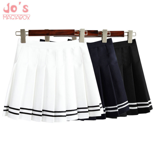 Drop ship taille haute boule Denim plissée jupes Harajuku Lolita bande a-ligne jupe marin Cosplay Japonais école Jupes uniforme