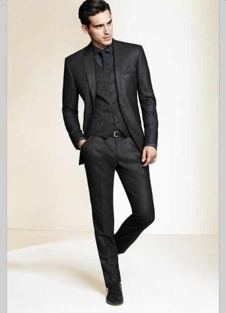 Preto Slim Fit Custom made mens smoking ternos de casamento para homens Smoking Padrinhos de casamento dos homens suits (jacket + pants + colete + gravata)