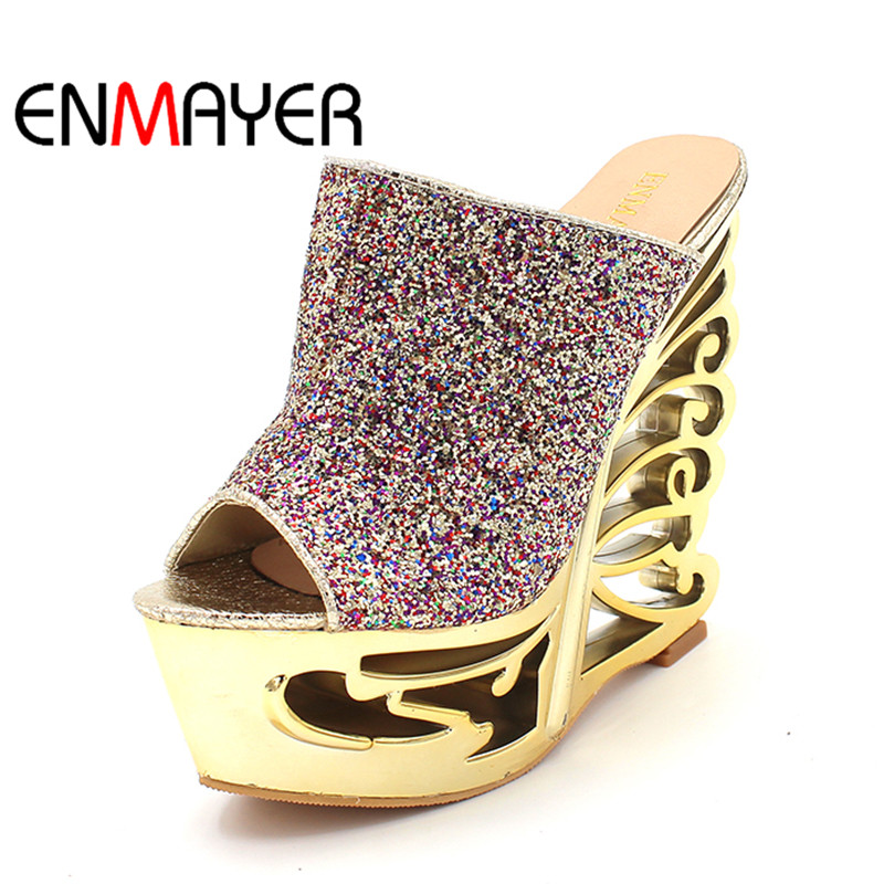 ENMAYER Summer Hollow Wedges High Heels Gladiator Sandals Women's Gold Silver Glitter Fashion High Heels Slippers Shoes Weman phyanic 2017 gladiator sandals gold silver shoes woman summer platform wedges glitters creepers casual women shoes phy3323