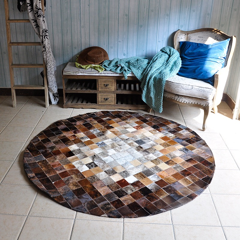 Cowskin Splicing Round Cowhide Carpet Houses Clubhouse Home Living Room Chair Round Rug