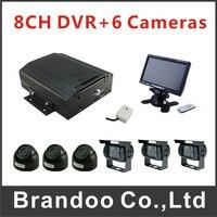 8CH HDD Car DVR MDVR Record Kit Including 3pcs IR Car Camera 3pcs Waterproof Car Camera