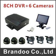8CH HDD Car DVR MDVR Record Kit Including 3pcs IR Car Camera + 3pcs Waterproof Car Camera +7 inch LCD Monitor For Bus Truck
