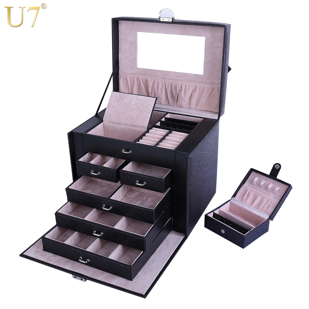 U7 Jewelry Storage Organizer Drawers Box Black Big Makeup Cosmetic Case & Mirror PU Leather Wedding Decoration Gift For Her OB09 u7 watch holder and jewelry organizer box chic storage drawer case black high quality pu leather gift for men women ob08