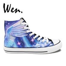 Wen Original Design Custom Hand Painted Shoes Beautiful Unicorn High Top Men Women s Canvas Sneakers