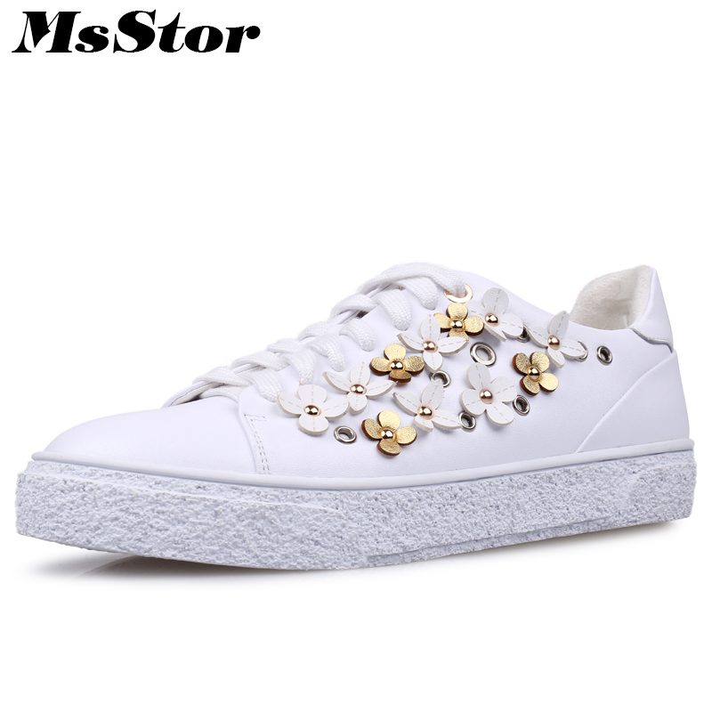 MsStor Women Flats Fashion Flower Rivet Flat Shoes For Woman 2018 New Arrive White Flat Shoes Genuine Leather Flats For Girl casual fashion women shoes elegant genuine leather flats ol flower design printing leather shoes famous brand girl shoes f002