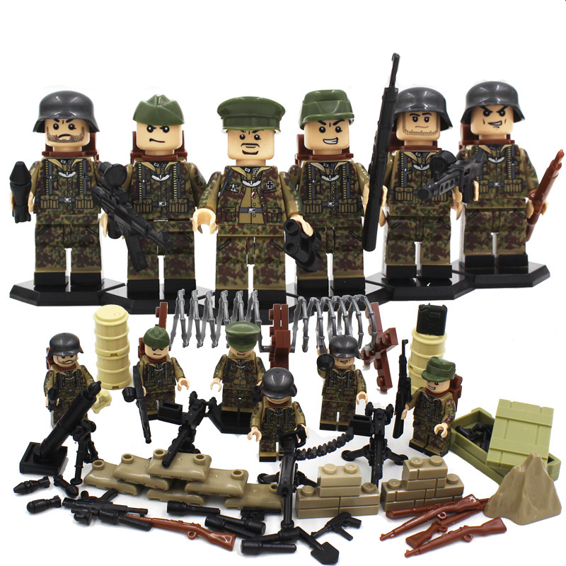 6PCS World War II US Military Soldiers Flgures Bricks Model WW2 German Army Weapons Buil ...