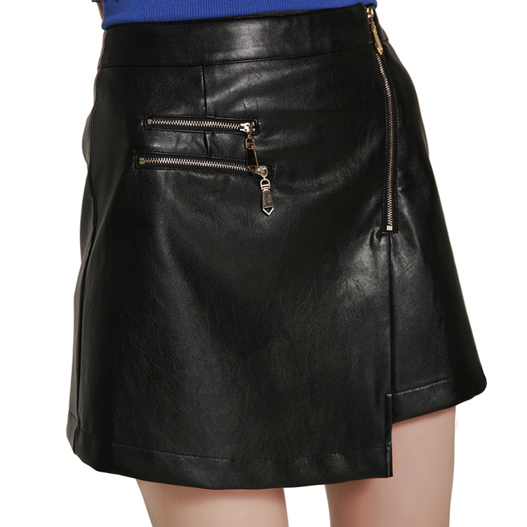 2017 Autumn Winter New Arrivals Zipper Decoration Asymmetrical Faux Leather Skirt Woman Fashion Sexy Black PU Skirts