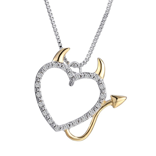 Devil Love Heart Necklace Pendant - Gold and Silver Plated 1