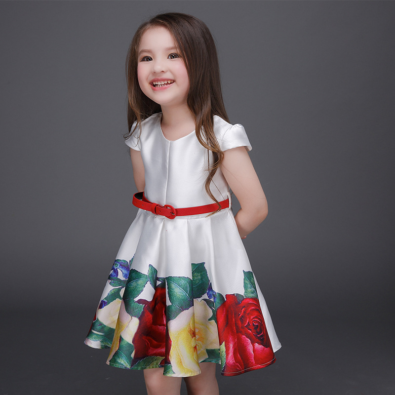 06e30832d 2019 Fashion Girl s Dresses flower Printing girl Party princess ...