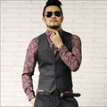 Stripped Men Black Casual Vest Brand Clothing Suit Vest For Men Slim Fit Vintage Waistcoat With Single Breasted A2810