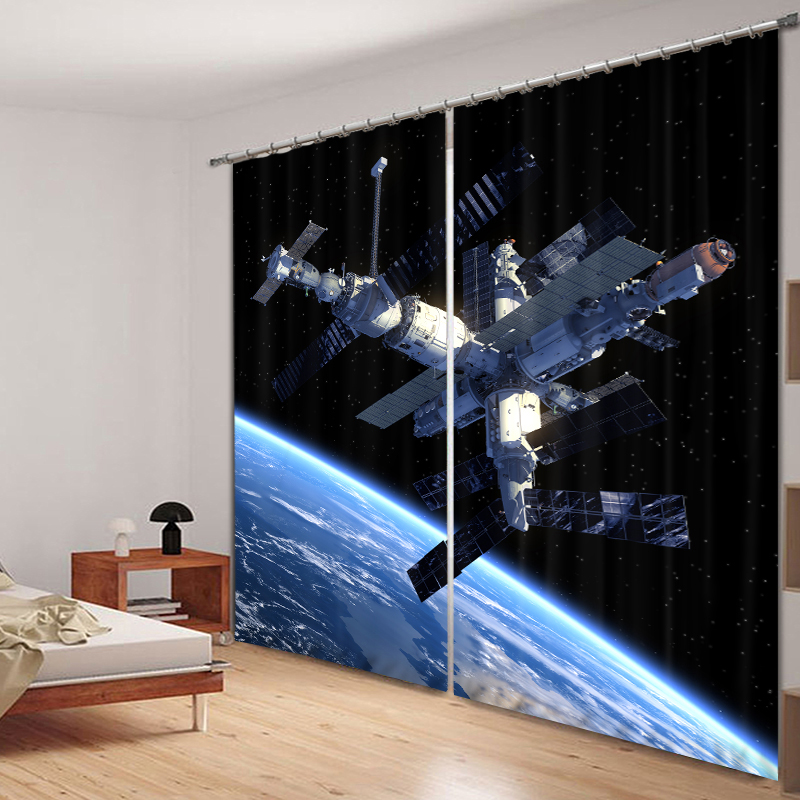 Boy Bedroom Luxury Blackout 3D Window Curtain For Living Room Drapes Rideaux Cortinas Customized Size Space Satellite Pillowcase