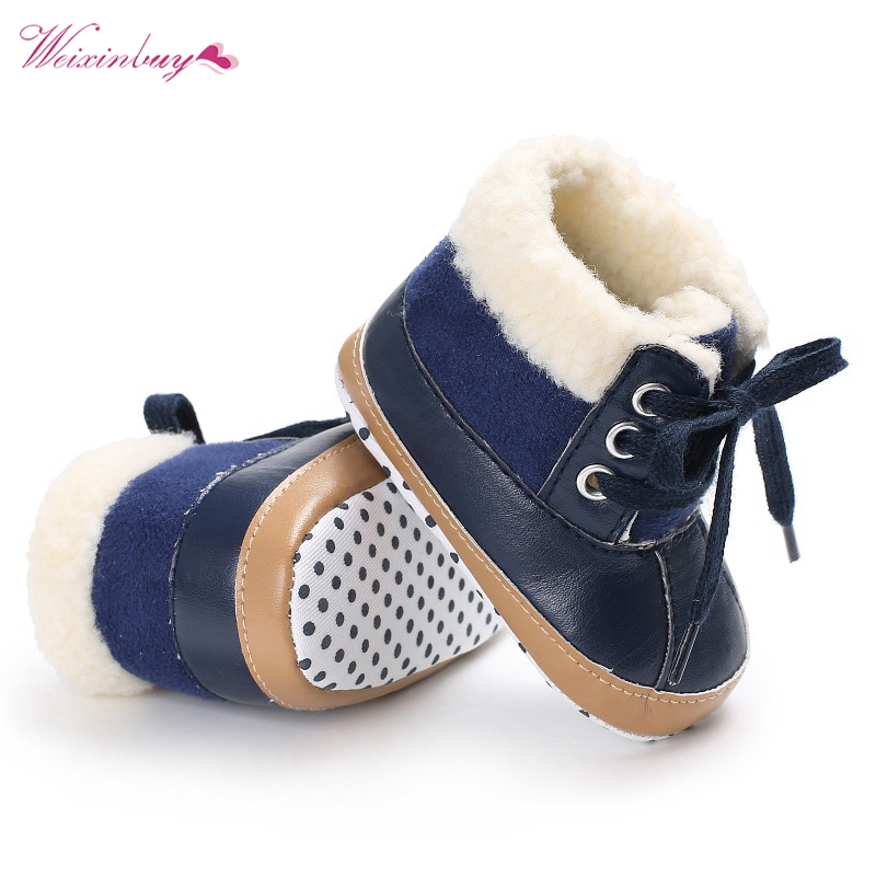 Baby Shoes Kids Winter Boots Girls Boys Newborn First Walkers Super Keep Warm PU Leather Fleece Snowfield Lace-Up Booty Shoes