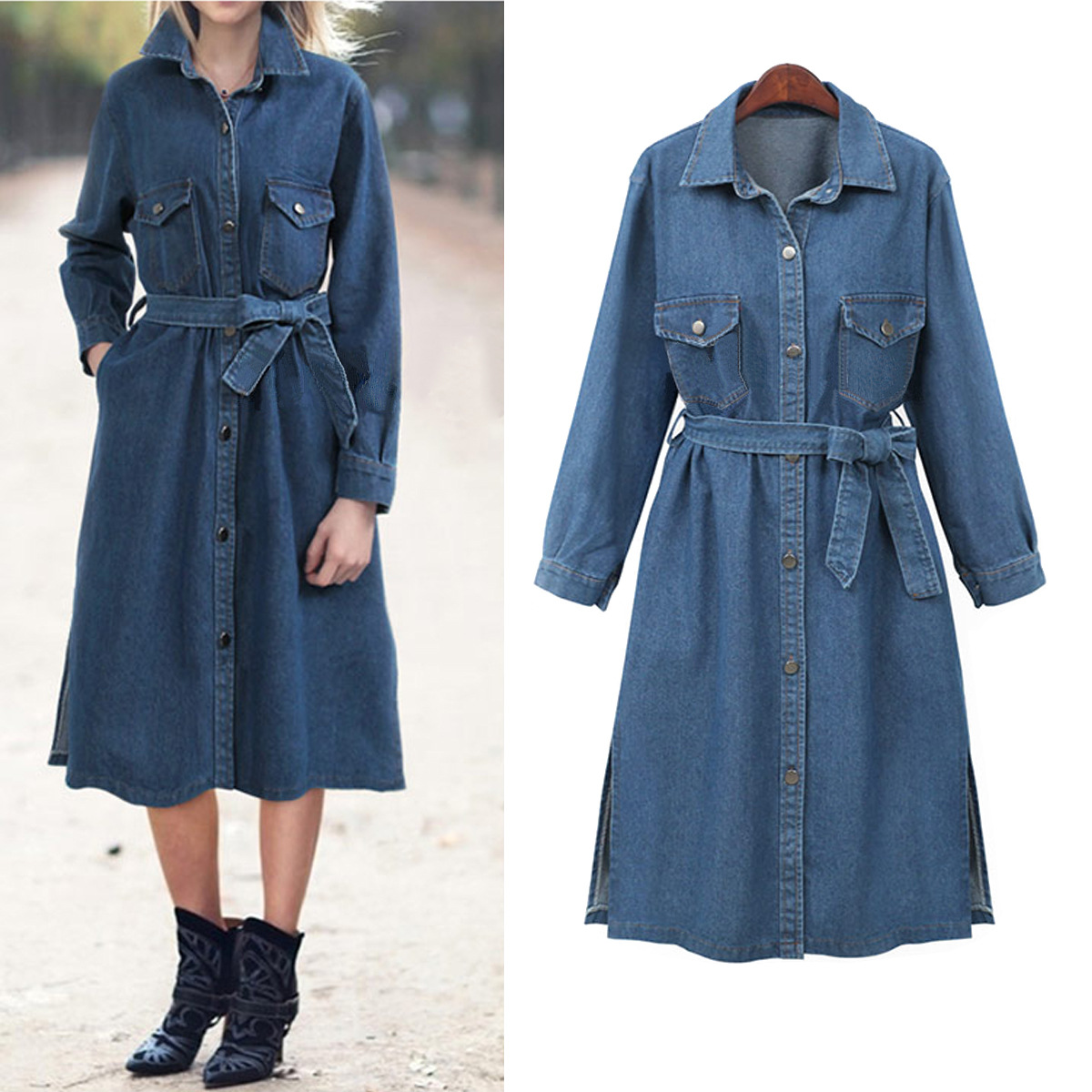 Autumn Women Casual Loose Long Denim   Trench   Coat Female Denim Overalls Plus Size Adjustable Waist Denim Women Big Size Coat