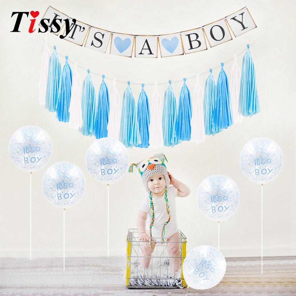 Its A Boy Girl Photo Booth Baby Shower Birthday Decor Cake Topper Pompoms Paper Crafts Baby First Birthday Party DIY Supplies