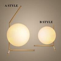 현대 디자인 직경 20 센치메터 유리 공 테이블 램프 침실 연구 주도 침대 옆 밤 빛 아트 데코 책상 abajur 파라 사절