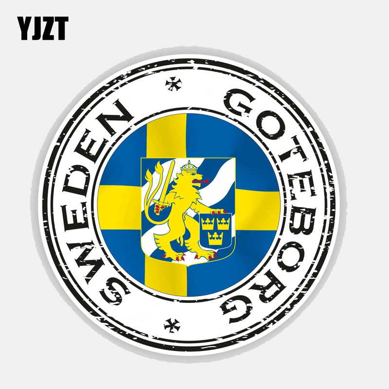 YJZT 12,7 CM * 12,7 CM Persönlichkeit Schweden Göteborg Helm Motorrad Auto Aufkleber Aufkleber 6-2746