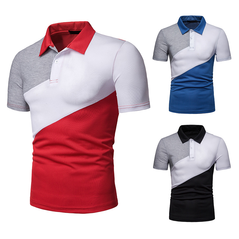 New Arrival Male   Polo   Shirt Trends Patchwork Men   Polo   Shirt Turn-Down Collar   Polo   Shirts Man Short Sleeve