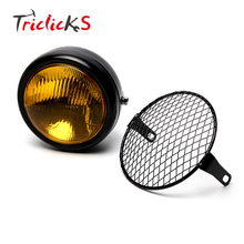 Triclicks 6.5 Hi-Lo 80W Retro Amber Vintage Motorcycle Side Mount Headlight Cafe Racer Grill Cover 1000LM 5000K DRL Headlights