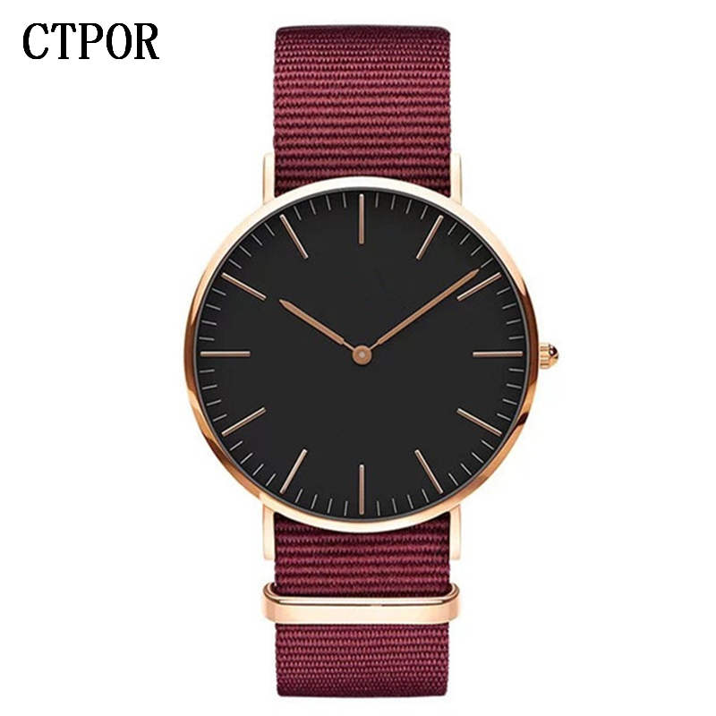 CTPOR Top Mens Watch Fashion Trend Men Wristwatch Strap Nylon Red Blue Black Man Watches Luxury No Logo Design Women Clock Brand