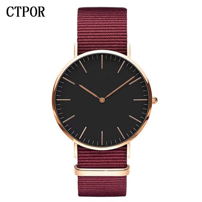 CTPOR Top Mens Watch Fashion Trend Men Wristwatch Strap Nylon Red Blue Black Man Watches Luxury No Logo Design Women Clock Brand
