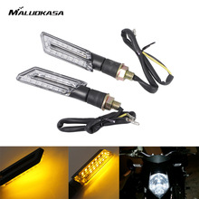 MALUOKASA Motorcycle Flashing Lights Motorbike Turn Signal Moto Turn Indicators Flasher 15 SMD LED Blinker Amber Moto Accessory