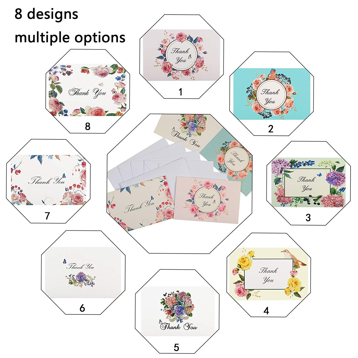48sets 8 designs thank you card notes floral greeting cards for 48sets 8 designs thank you card notes floral greeting cards for wedding graduation business festival with envelopes stickers in party diy decorations from m4hsunfo