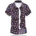 2016 Мужской Короткий Рукав Цветок Рубашка Плюс Размер 5XL 6XL Случайные Мерсеризированный Хлопчатобумажную Рубашку Мужчины Летний Новый Модные Мужские цветочные Рубашки